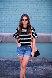 sequins and stripes,blogger,shorts,bag,shoes,sunglasses,stripes,striped top,black and white,denim shorts