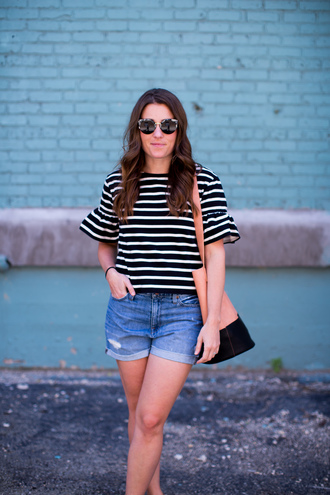 sequins and stripes blogger shorts bag shoes sunglasses stripes striped top black and white denim shorts