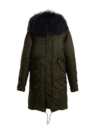 coat fur shell dark green