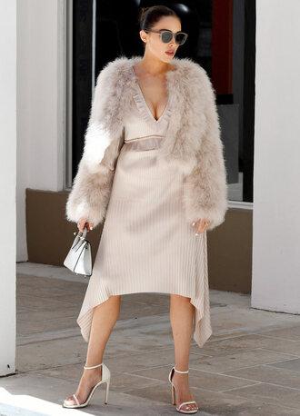 dress asymmetrical asymmetrical dress sandals olivia culpo fur fur jacket nude plunge dress sunglasses