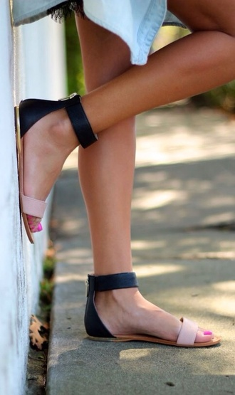 shoes black colorblock nude sandals cute sandals summer sandals nude ankle strap minimalist shoes