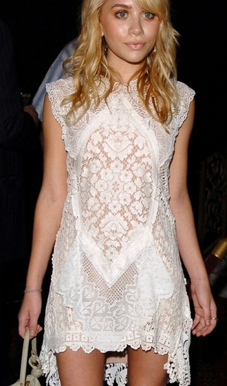 mary kate olsen ashley olsen white dress lace dress
