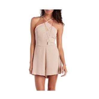 romper nude dress boho dress stylish