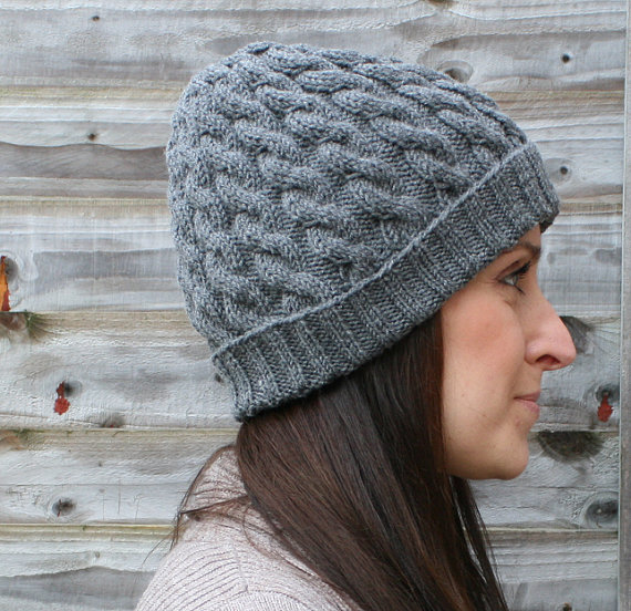 Women s Gray Wool Knit Beanie   Gray Knit Hat   Gray Knit Cap ... 906f8a97e03