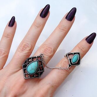 jewels jewel cult jewelry boho jewelry hand jewelry knuckle ring ring rings and tings boho boho chic bohemian turquoise chain link