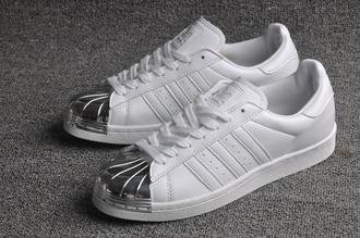 shoes superstar adidas superstar adidas metal toe metallic metallic shoes white sneakers adidas superstars