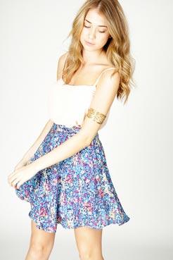 Renee ditsy floral print skirt at boohoo.com