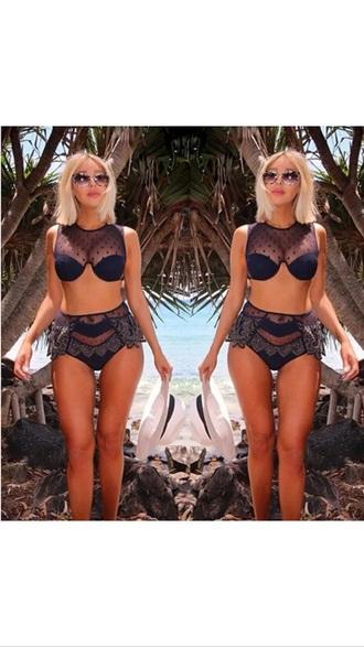 swimwear black bra sunglasses lace bralette beach bralet top top