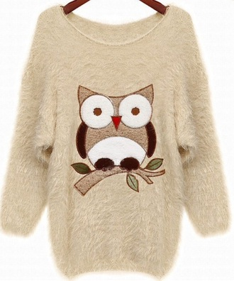 owl jumper beige fluffy sweater fall outfits fall sweater kawaii cute