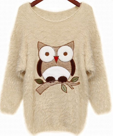 owl sweater jumper beige fluffy fall outfits fall sweater kawaii cute