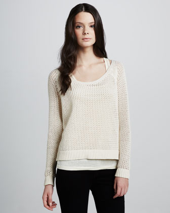 Maison Scotch See-Through Mesh Sweater - Neiman Marcus