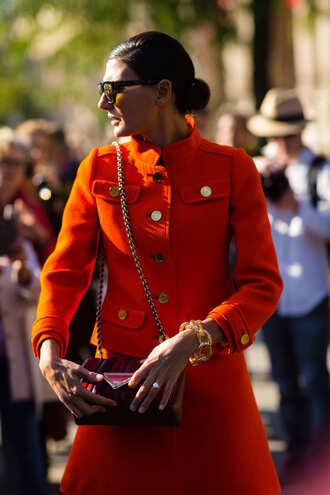coat fashion week street style fashion week 2016 fashion week paris fashion week 2016 orange orange coat bag red bag streetstyle sunglasses bracelets