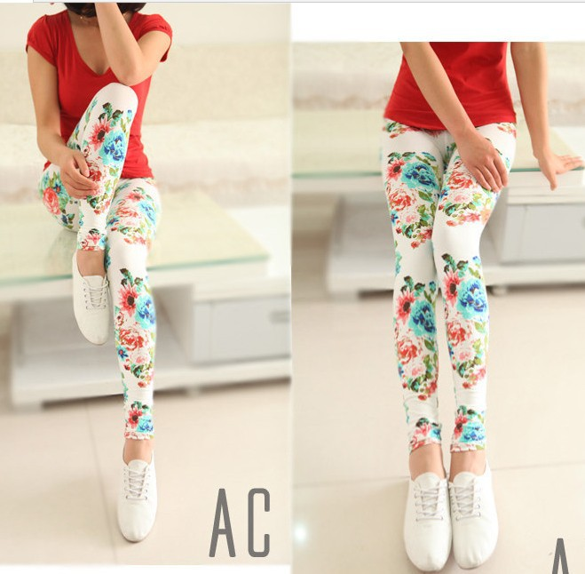 2014 new women long leggings womens fashion floral legging pants flower print blue black white women's casual slim fit cotton
