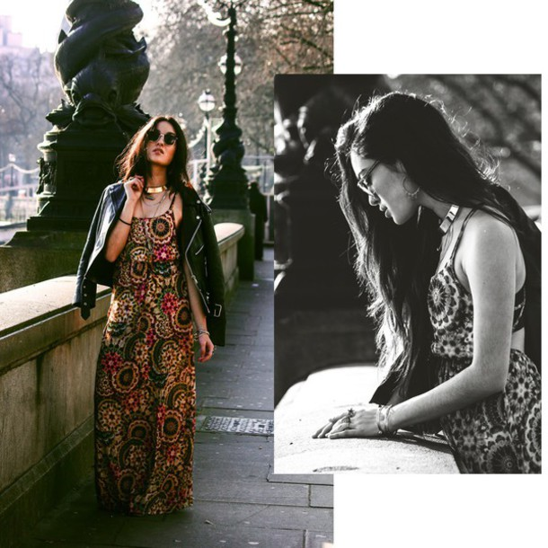 alessandra kamaile blogger dress sunglasses maxi dress boho dress