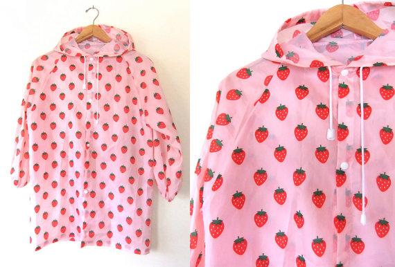 90s see through strawberry raincoat  kawaii by buddybuddyvintage