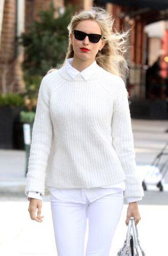 sweater white sunglasses blonde hair all white everything pullover pull shirt white shirt white pants