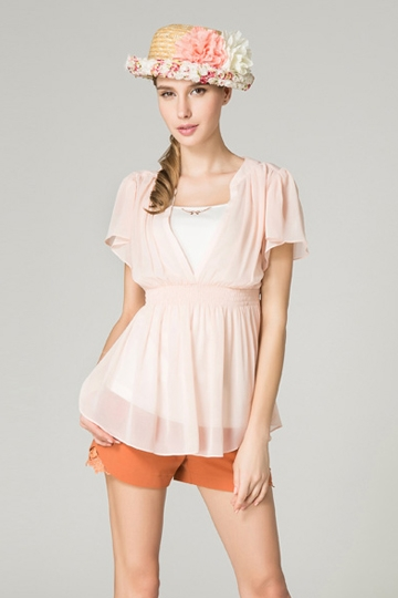 Simple V-neck Paddy Waist Shirt [FDBI00434]- US$ 64.99 - PersunMall.com