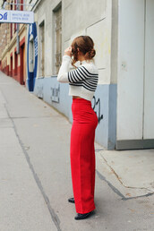 pants,tumblr,wide-leg pants,red pants,sweater,cropped sweater,stripes,striped sweater,boots,fall outfits