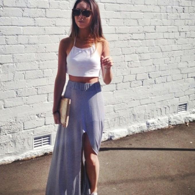 skirt summer outfits white maxi skirt slit middle slit stripes high waist high waisted skirt crop tops crop tops white crop top striped skirt the middle