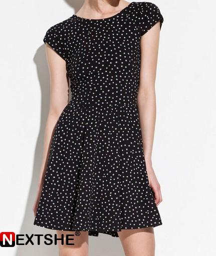 Black little white stars deep v back dress