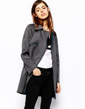 ASOS | ASOS Biker Coat in Bonded Fabric at ASOS