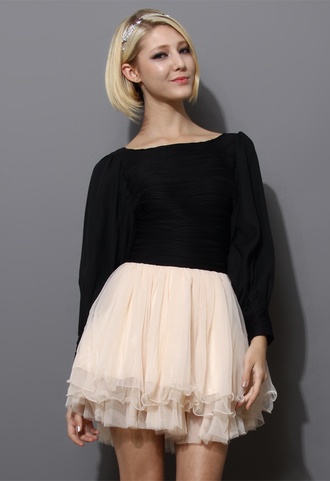 dress crepe mesh tulle skirt puff sleeves