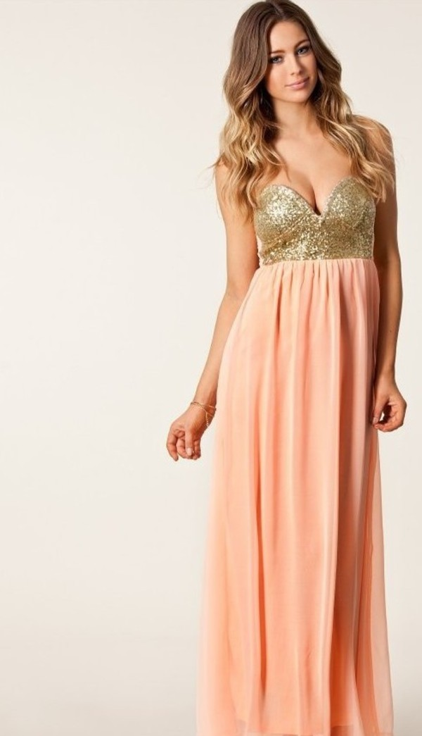 dress long dress pink dress sequin dress