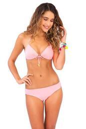 top,bandeau,bikini top,halter top,luli fama,pink,bikiniluxe
