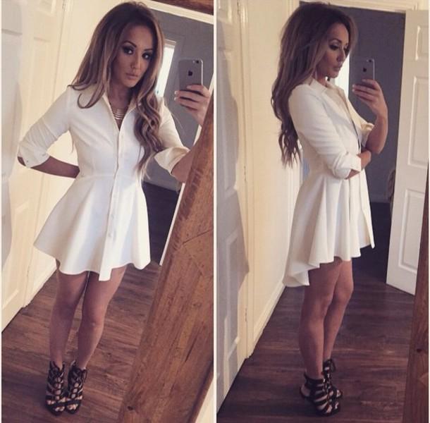 dress white dress long sleeves shirtdress geordie shore charlotte geordie shore charlotte crosby shirt dress fabulous hot fashion shoes high heels black black shoes pretty beautiful sexy