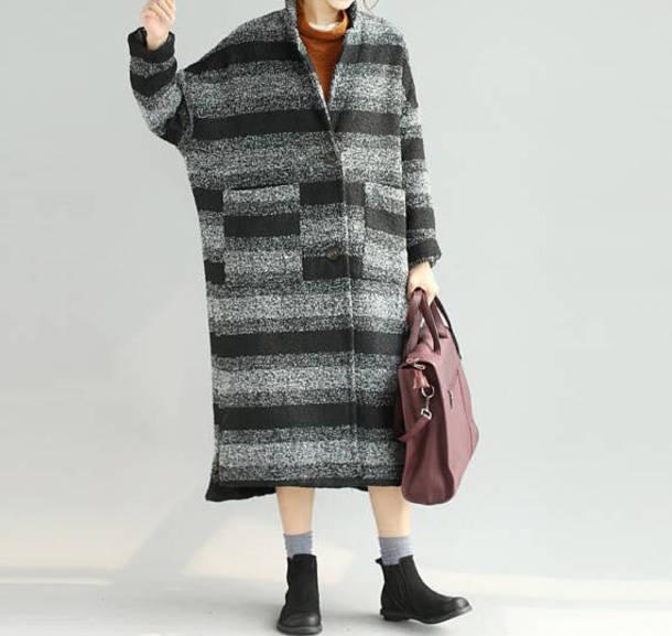 coat winter coat striped woolen coat