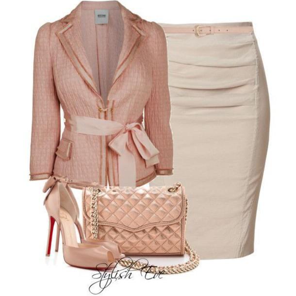 jacket shoes handbag skirt bow tan
