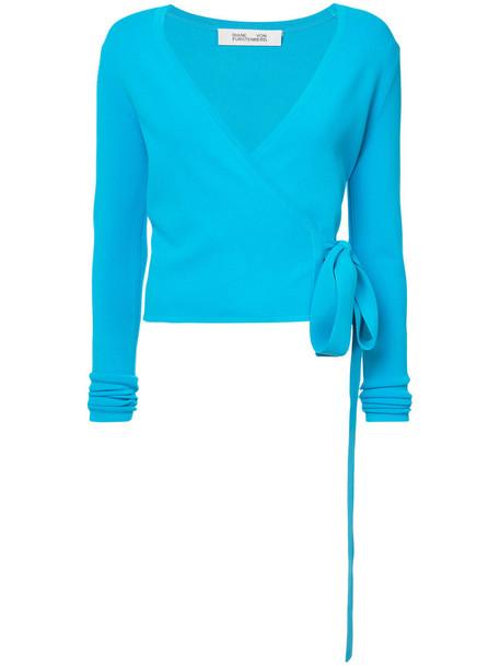top wrap top long women blue knit