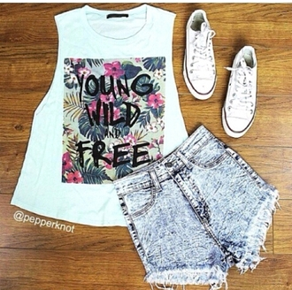 young wild free tanktop. muscle tee