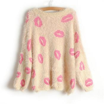 Gothic Street Punk Mouth Lips Print Mohair Knitwear Pullover Cardigan Sweater | eBay