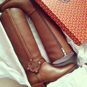 shoes,boots,tory,burch,brown,long boots,tory burch,brown leather boots