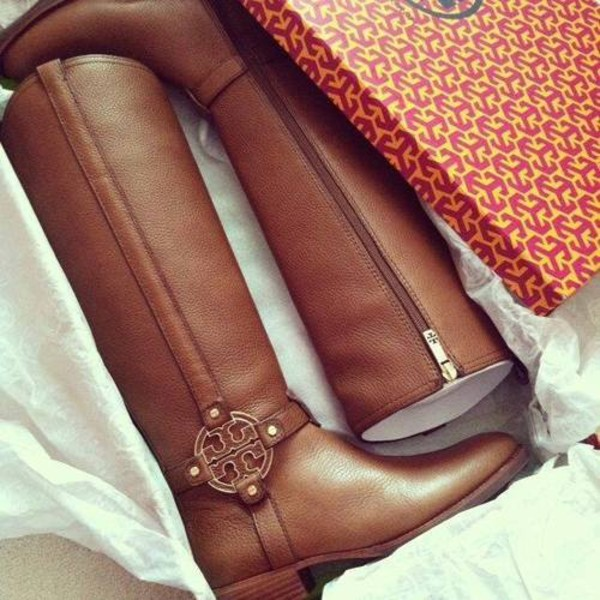 shoes boots tory burch brown long boots tory burch brown leather boots