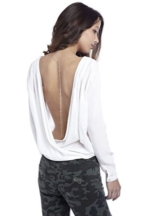 Q2 women's white shirt with low cowl back at amazon women's clothing store: