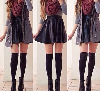 skirt shirt cute like coat inlove leather skirt leather scarf burgundy soft