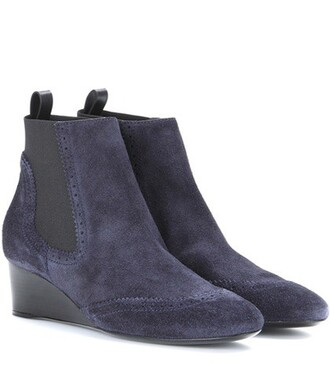 wedge boots boots suede blue shoes