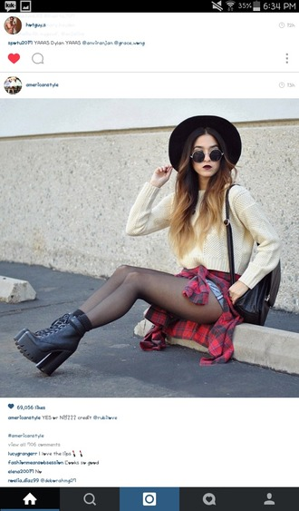 shirt cropped sweater platform lace up boots plaid shirt ombre ombre hair