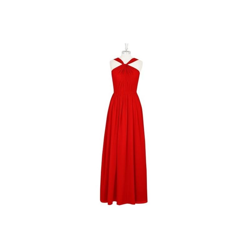Red Azazie Jacey - Floor Length Back Zip Chiffon V Neck Dress - Cheap Gorgeous Bridesmaids Store