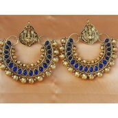 jewels,indian,earrings,ram-leela,blue,gold,metal wire?,indian crafted,statement earrings
