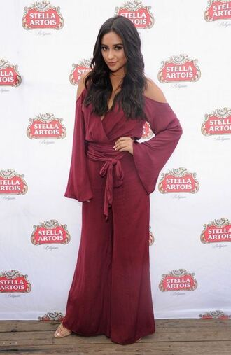 jumpsuit wrap shay mitchell burgundy