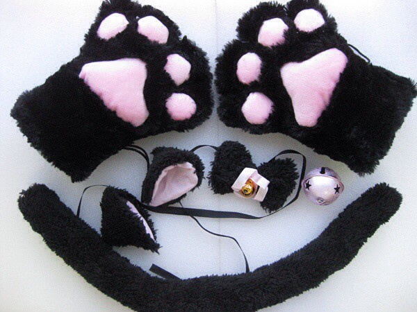 gloves cat ears cats cosplay costume jewelry