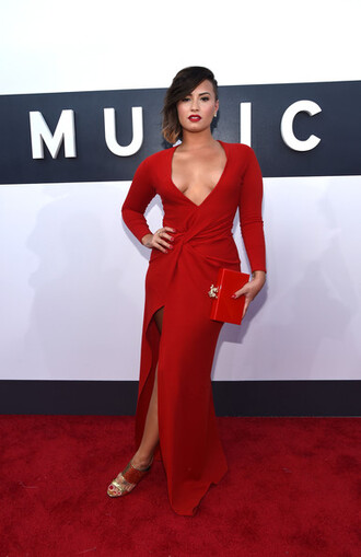 dress red dress mtv demi lovato shoes bag clutch sandals vma