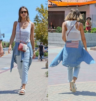 shirt top striped top sandals jessica alba denim denim shirt jeans july 4th shoes bag purse beach shoes