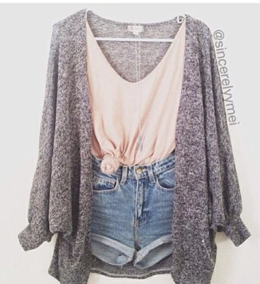 amazing clothes cardigan t-shirt coral grey love it