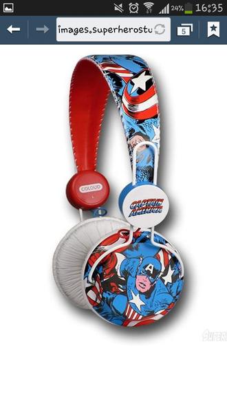 earphones headphones captain america marvel marvel superheroes the avengers retro