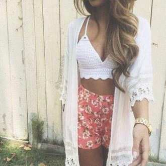 shorts flowered shorts cardigan