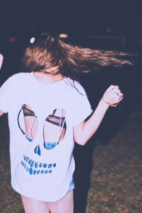 t-shirt skull holes white oversized oversized t-shirt graphic tee shirt grunge cut-out